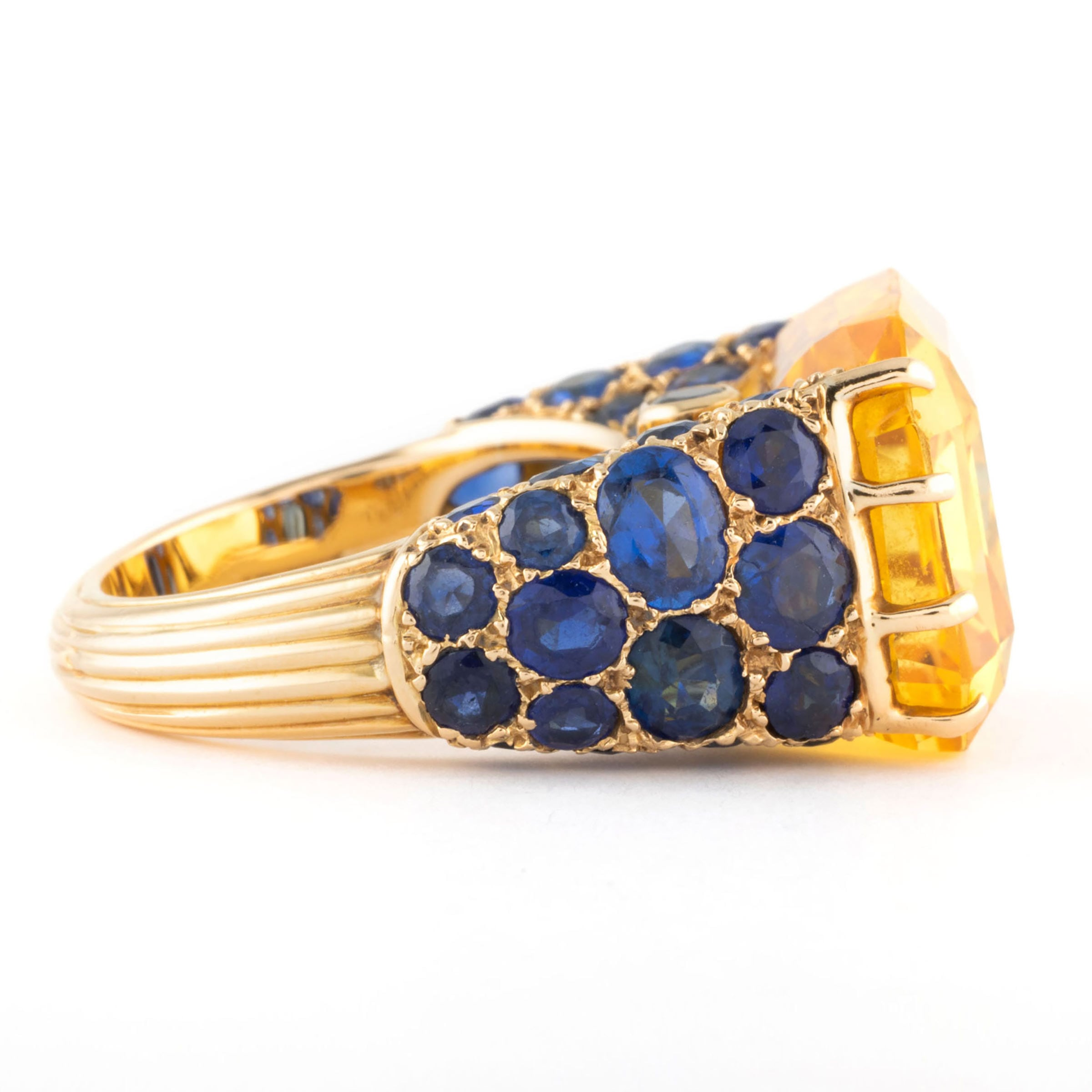 d6953639fe44a CARTIER, Very nice not heated yellow sapphire mounted on a blue ...